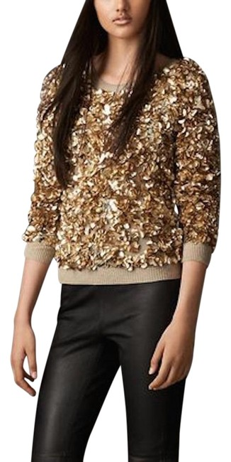 Preload https://img-static.tradesy.com/item/20154623/burberry-gold-wool-cashmere-crushed-sequin-sweaterpullover-size-8-m-0-1-650-650.jpg