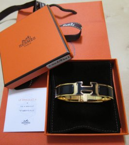 Hermès NWT SOLDOUT Black on Black Gold hw Clic Clac H Narrow PM