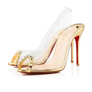 Christian Louboutin Gold & Clear Pumps