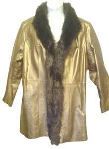 Via Accenti Leather Faux Fur Lined 22w 2x Gold Leather Jacket