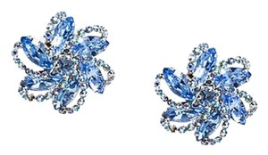 Weiss Furs Vintage Weiss Silver Tone Blue Iridescent Bejeweled Flower Clip On Earrings