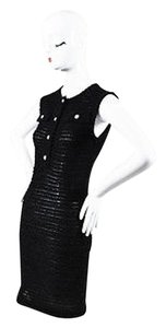 Chanel short dress Black Shaggy Knit Sleeveless Button Up Shift on Tradesy
