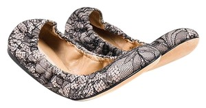 Valentino Garavani Light Pink Leather Lace Elasticized Ballet Black Flats