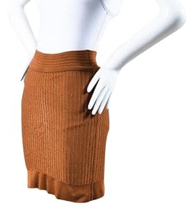 ALAA Alaia Camel Stretch Knit Skirt Brown