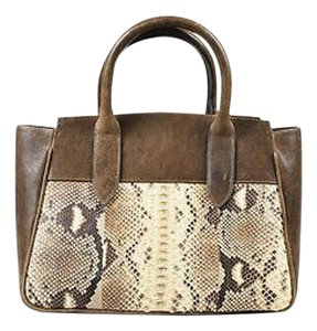 Adriana Castro Taupe Cream Satchel in Beige