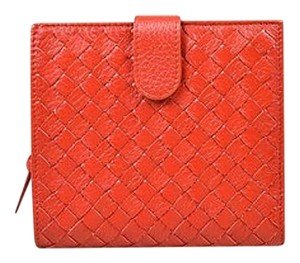 Bottega Veneta Bottega Veneta Red Lambskin Leather Intrecciato Woven Bifold Wallet