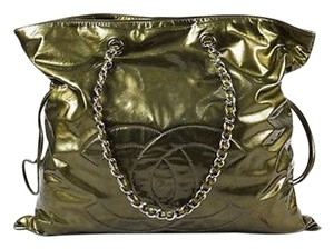 Chanel Olive Patent Leather Silver Chain Bon Bon Tote in Green