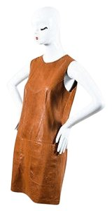 Vince short dress Brown Leather Paneled on Tradesy