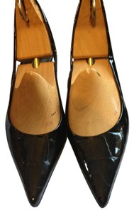 Bandolino Slingback Sandals Pointed Pumps Black Patent Leather Mules