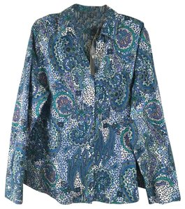 Chico's Chicos Nwt Cotton Button Down Shirt Multi-Colored Purple Turquoise Blue