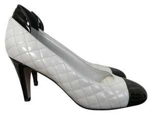 Chanel Leather Quilted White Pumps