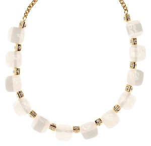 Kate Spade NEW Colorblock Station Necklace, White, Gold, WBRUB242