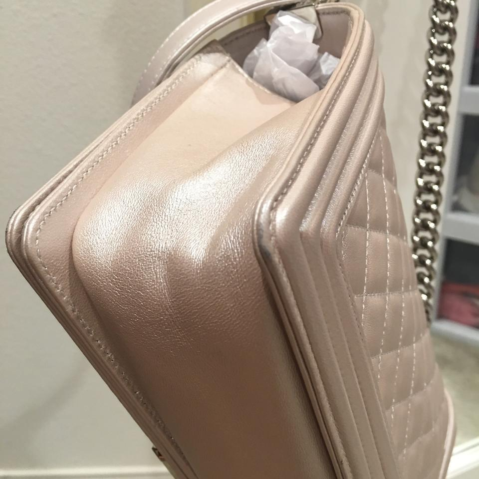 d2421a29be60 Chanel Boy Le In Medium Pearlized Blush Pink Lambskin Shoulder Bag ...