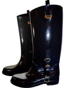Ralph Lauren Gold Hardware Rubber Black Boots