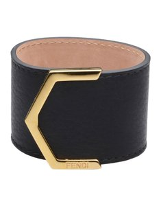 Fendi FENDI BLACK LEATHER BRACELET
