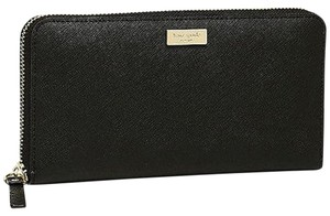 Kate Spade NY Newbury Neda Zip Saff Leather Wallet Fits Checkbook NWT Black