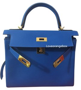 Hermès Ghw Evercolor Hermes Kelly Satchel in Blue
