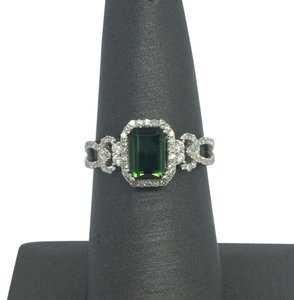 Other 14K White Gold Halo Natural Diamond and Natural Green Tourmaline Ring
