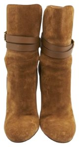 Gucci Abigail Brown Suede Ankle Wrap Orange Brown Boots