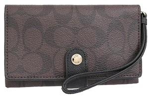 Coach Signature Wallet Wristlet in Brown Black