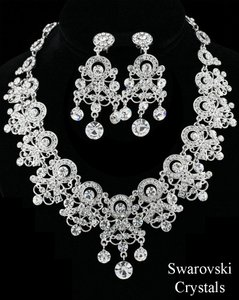 Victorian Scrol Crystal Bridal Necklace & Earring Set
