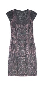 Sue Wong short dress Grey & Pink Beaded V-neck on Tradesy