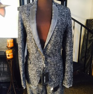 Dolce&Gabbana Gray Tweed Black Tweed Blazer