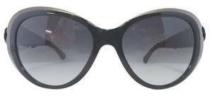 Chanel Black Floral Leather Sunglasses