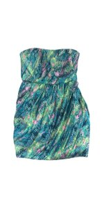 ADAM short dress Green Tone Silk Strapless on Tradesy