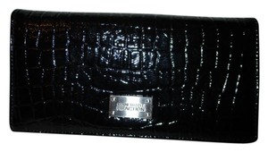 Kenneth Cole Reaction croc embossed faux patent leather bi fold,