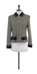 St. John Brown Grey Tweed Zip Jacket