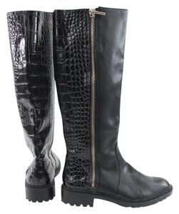 Zara Black Leather Snakeskin Knee High Boots