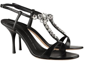 Giuseppe Zanotti Crystal Leather Embellished Giuseppe Black Sandals