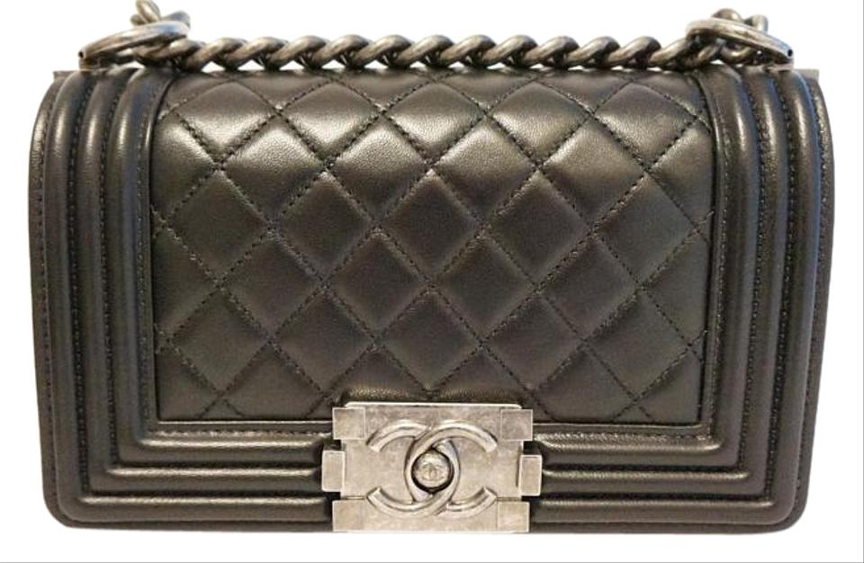 57c2a785824c87 Chanel Classic Flap Boy Small Quilted Leather Black Lambskin ...
