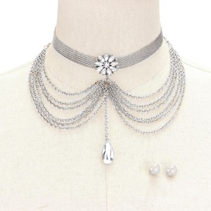 Rhinestone crystal Choker necklace Crystal and Metal Chain Choker Collar Statement necklace