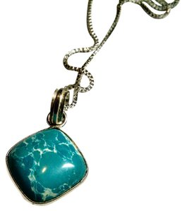 New Light Blue Gemstone Necklace 18 Inch Chain 925 Silver Pendant J701