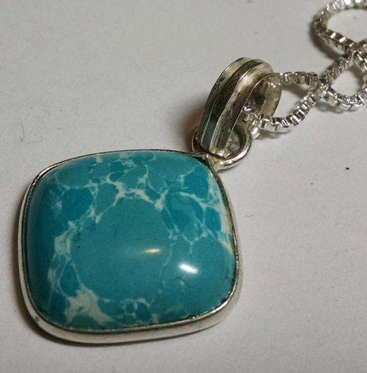 Other New Light Blue Gemstone Necklace 18 Inch Chain 925 Silver Pendant J701
