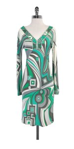 Emilio Pucci short dress Teal Grey Patterned V-neck on Tradesy