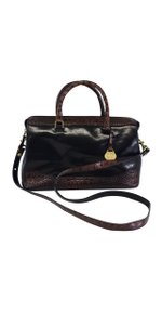 Brahmin Black Brown Crocodile Trim Shoulder Bag