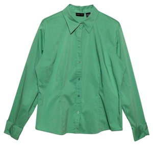New York & Company Button Down Shirt Green