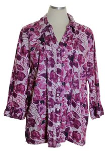 JM Collection Button Down Shirt Purple
