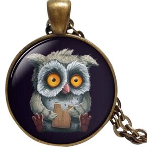 New Owl Cabochon Necklace Antiqued Gold Black J3032