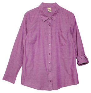 Faded Glory Button Down Shirt Heather Pink