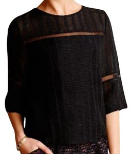 Anthropologie Textured Sheer Panels Cropped T Shirt Black
