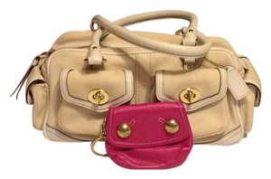 Coach Pink Satin Sateen Satchel in White/Pink