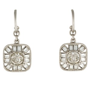 Chanel Silver-tone Chanel crystal interlocking CC drop earrings