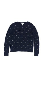 Joie Navy Wool Embellished Sweater