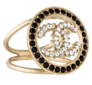 Chanel Gold-tone Chanel crystal Interlocking CC cocktail ring 6.25