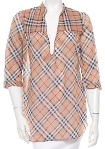 Burberry Nova Check Plaid Monogram Exploded Check Longsleeve Top Beige, Grey, Red