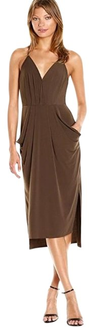 Item - Coffee Bean Women's Faux-wrap Midi V-neck Sleeveless Draped Mid-length Work/Office Dress Size 12 (L)
